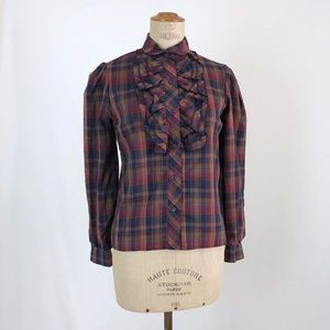 Plaid vintage ruffled collar neck top career